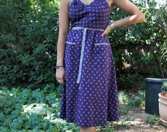 NWT Old Stock Vintage JT Dress Co By Jody of California Wrap Dress purple tan cotton blend halter style XS/S Ladies