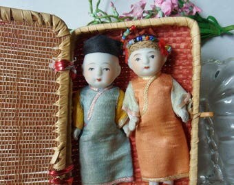 Japanese Porcelain Bisque Dolls in Basket, Miniature Twin Asian Dolls in Silk Clothing