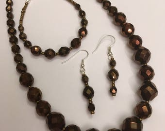 Bronze colour Faceted Glass Bead set of 3 Handmade Necklace 16 inches approx Bracelet approx 7 inches and Dangle Earrings