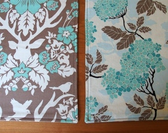 Reversible Placemats with Hydrangea, Chrysanthemum, Deer, Antlers in Blue Brown Dark Taupe, Woodland Placemat, Birch Farm, Woodland Decor