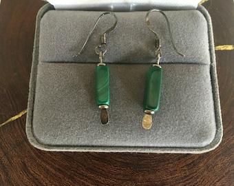 Green  Malachite Earrings 90's Southwestern Dangle Earrings Sterling Silver and Green Malachite Petite Dangle Earrings Southwestern Jewelry