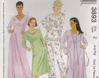 Pajamas, Nightgown & Robe Pattern McCalls 3893 Sizes L, XL Uncut