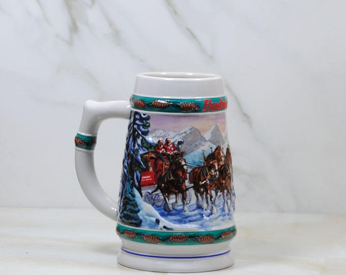 Vintage Budweiser, Beer Stein,1993, Holiday, Stein Collection, Special Delivery, Handcrafted, Anheuser Busch, Inc, Christmas, Brazil