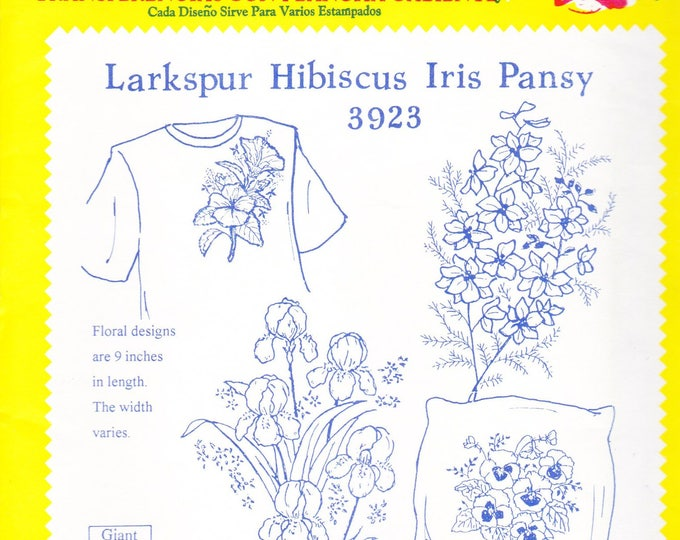Vintage Aunt Martha's Hot Iron Transfers, 3923, Larkspur Hibiscus Iris Pansy