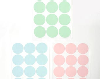 Large/Big Circle/Round Stickers in Pastel, Size 1.6 inch or 40mm , Set of 2 sheets or 24 circles - choose one color-Blue or Pink