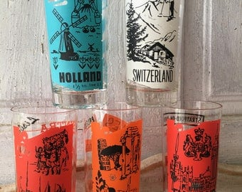 PanAm vintage souvenir drinking glasses tumblers countries England, Holland, Portugal, Switzerland, Italy,  Pan American World Airways