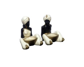 Vintage Chalkware Figurines, Blackamoor Statues w/ Dish, Mid Century Modern Persian Arabian Tahitian Nubian