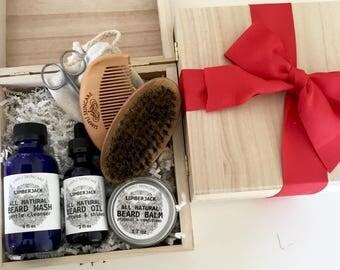 Valentines Day Gift for Men Beard Kit Mens Gift Set Valentines Gift for Him Beard Growth Set Beard Oil Beard Brush Beard Comb Beard Care Set