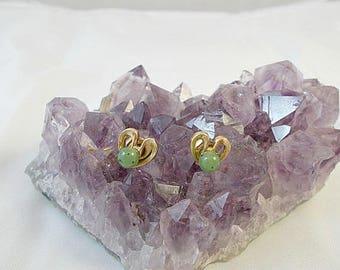 Vintage Jade Green Heart Earrings