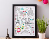 Paris Art Print - Paris map print - Ready to frame print - Paris themed gift - Eiffel Tower themed gift - Cityscape art - France themed gift
