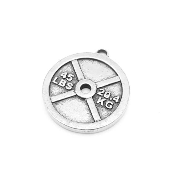 45lb Weight Plate Large Charm / Pendant - Fitness Jewelry - Gym Accessories - 20.4 KG - Pewter - Hypoallergenic - Lifting Jewelry - Workout