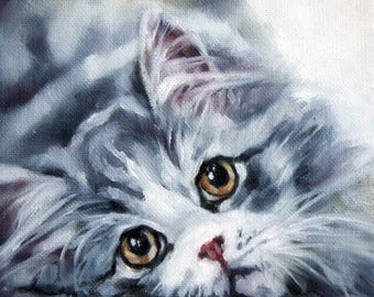 Kitten Painting, Original Cat Painting, Cute Kitten, Grey Cat, Grey Kitten, Art Collectibles, 6x6 painting