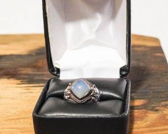 Vintage Blue Chalcedony Ring Gypsy Boho Sterling Silver 1970s Size 6.5