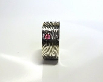8mm Sterling Silver Stacking Band | READY to SHIP |  Reverse set Rhodalite Garnet, Size 6, Handmade with Recycled Sterling Silver
