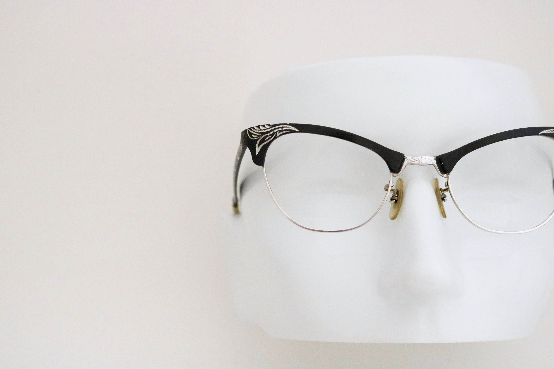 0fc8b700e41 Vintage 50 s 12k Engraved Aluminum Cat Eye Eyeglasses ...