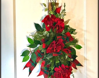 Christmas Door Swag, Red Plaid Tartan Holiday Floral Swag, Door Decoration, Tartan Holiday Decoration