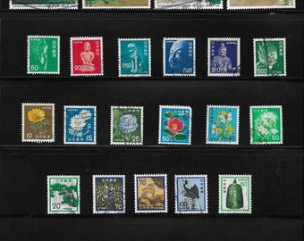 Japan Vintage Stamps - Collection of 27 stamps - Great representation of Japanese Art, Flora and Sculpture