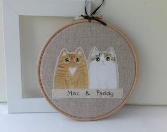 Custom cat portrait - two cats  portrait - three cats portrait - custom pet portrait - cat lover gift - cat hoop art