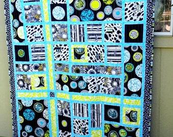 Patchwork Quilt, Throw Size, Child's Quilt, Bugs, Black, White, Aqua, Yellow
