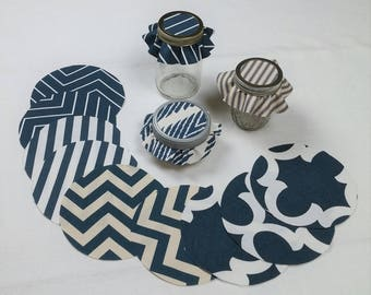 Dozen Navy Stripes & Designs Mixed Jar Toppers, Fabric Circles for Canning, Gift in a Jar, YoYo, FREE Shipping