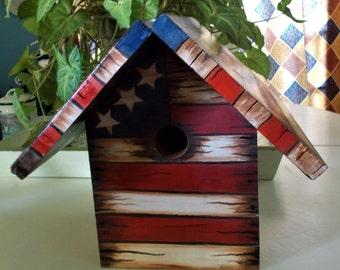 Americana Birdhouse, Rustic Birdhouse, Stars and Stripes Birdhouse, Decorative Birdhouse, Hand Painted Birdhouse