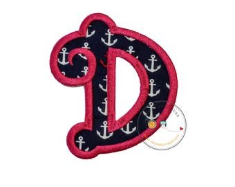 Chunky curls letter D iron on applique, Girls nautical monogram, iron on initial D, Blue and pink monogram letter D, Ready to ship