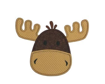 Moose face  iron embroidered fabric applique patch