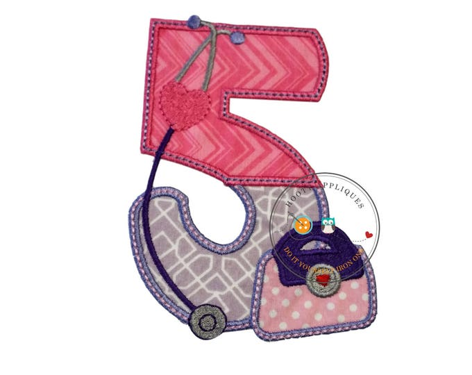 Girl doctor birthday number five- iron embroidered fabric applique patch embellishment- ready to ship