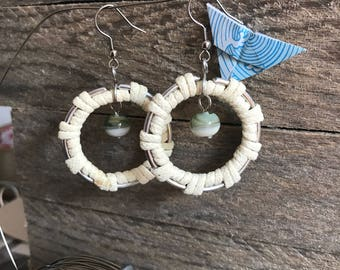 ivory and light blue wire wrapping and glass earrings