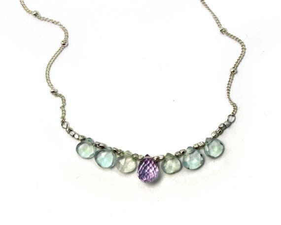 Bridesmaid Gifts. Briolette Bar Necklaces. Aquamarine and Pink Amethyst. Multi Gemstone Necklaces.  N2394