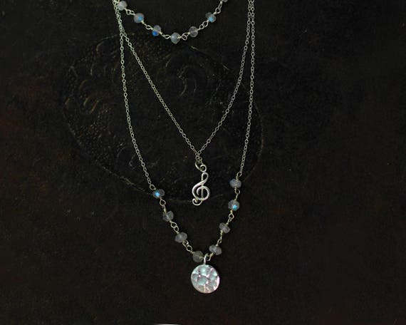 Music Necklace. Multi Chain Choker. Moonstone Necklace, Treble Clef. Rosary Wire wrapped Gemstones. N2520-2