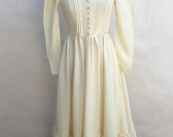 Vintage Gunne Sax by Jessica maxi peasant dress creamy ivory taffeta sz 7 XS