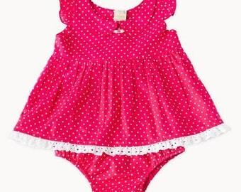 Hot Pink Polkadot Baby Set