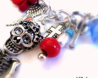 A story...! Necklace chain and split leather Navy, charms, skull, skulls, skeleton, dia los muertos, Gothic, Mexico