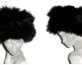 Vintage Designer Fur Hat 1950s 60s Pierre Balmain Paris Round Black Fox Fur Hat Fluffy Black Fox Fur Velvet Top Boho Fur Hat 21.5 in
