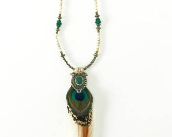 Sahara Daze Beaded Feather Necklace