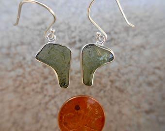 Moldavite Silver Wrapped Earrings Set