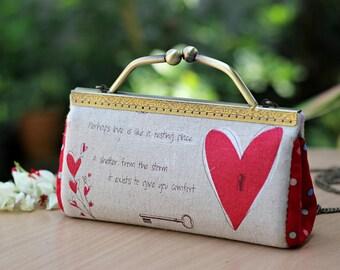 Kiss lock clutch, Handbag, shoulder bag linen heart print