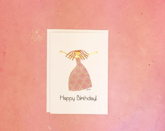 Handmade Happy Birthday Card with Woman in Pink Dress