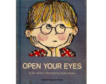 rebus book Open Your Eyes, Parents Magazine Press, learning colors book, primary colors, mod illustrations, preschool colors, color wheel