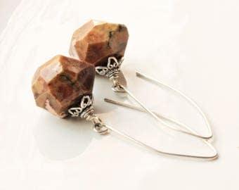 Jasper Earrings, Sterling Silver threaders, brown gemstone earrings, modern statement earrings, natural stone, holiday gift for her, 2872