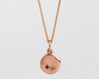 Large Ruby Pendant Gold Necklace, 14k Rose Gold Disc Necklace, Tiny Ruby Charm Pendant Rose Gold 18k, Graduation Gift