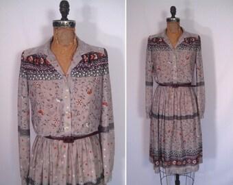 1970s sheer gray floral print day dress • 70s folk art flower print secretary dress •  vintage soft touch dress