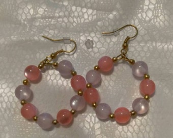 Pink/Ice Pink Gold Hoops