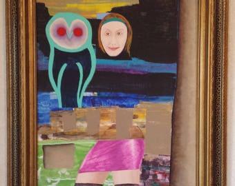 Companion Owl - Acrylic on Canvas Board