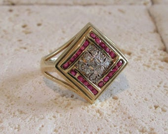 Ruby and Diamond Cocktail Ring, Ruby and Diamond Dinner Ring, July Birthstone Ring, Birthstone Ring, Hallmarked Ring, Ruby and Diamond Ring