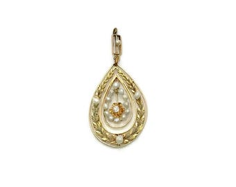 14 Karat Yellow and Green Gold Diamond and Pearl Pendant, Antique Pendant, Edwardian Pendant, Diamond and Pearl Pendant, Antique Jewelry
