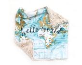 Lovey Aqua + Mustard Hello World. Lovey. Map Lovey. Aqua Lovey. Mini Baby Blanket. Security Blanket. Lovie. Minky Lovey.