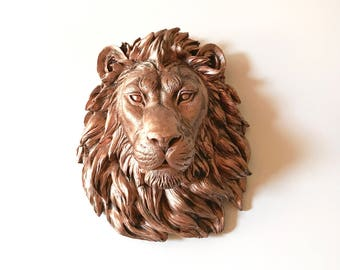 Faux AGED Copper Large Lion Head Faux Taxidermy animal head wall mount safari wall art wall hanging