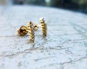 Small Diamond Earrings in 14K Gold